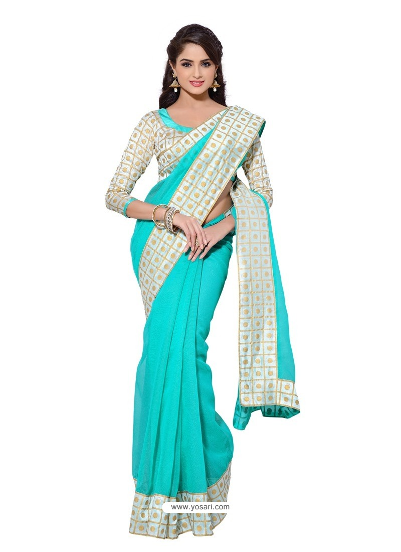 Kora Silk Skyblue and White Color Sari