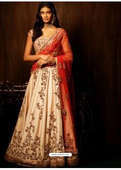 Cream Embroidered Silk Designer Lehenga Choli
