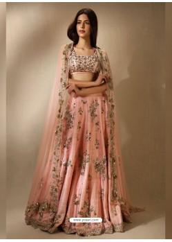 Baby Pink Embroidered Silk Designer Lehenga Choli