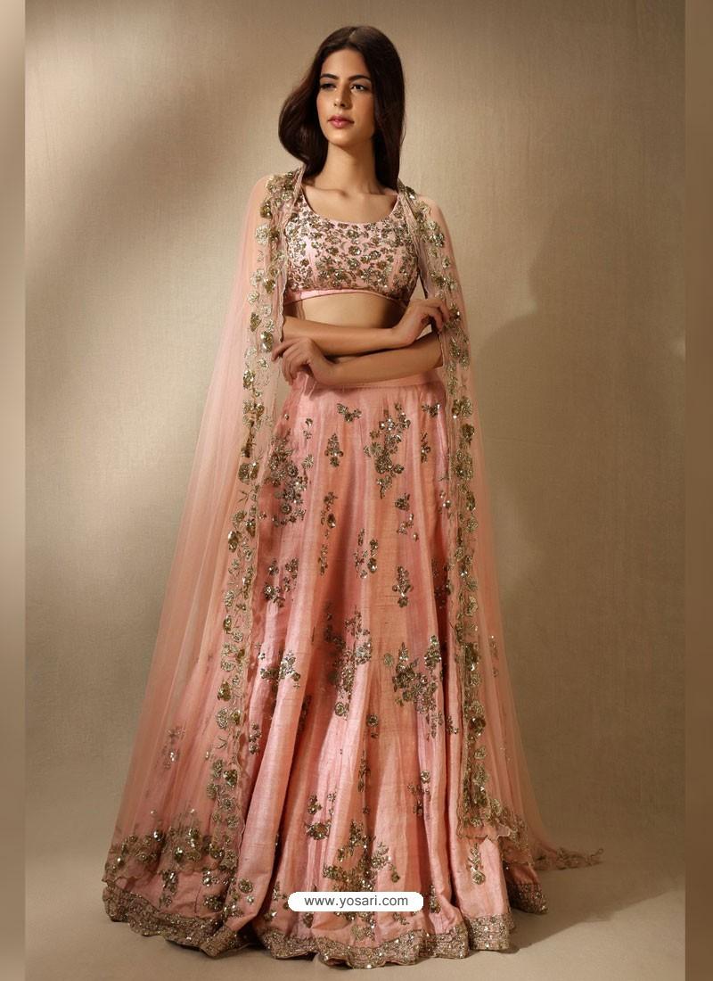 2582cb5dcc Buy Baby Pink Embroidered Silk Designer Lehenga Choli | Designer ...