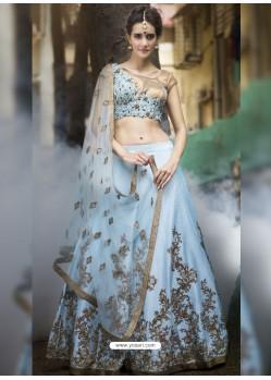 Sky Blue Embroidered Silk Designer Lehenga Choli