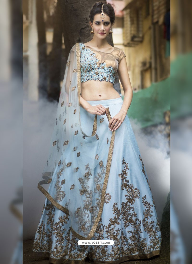 d32f91300c6102 Buy Sky Blue Embroidered Silk Designer Lehenga Choli | Designer ...