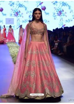 Light Pink Embroidered Silk Designer Lehenga Choli