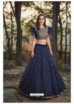 Gorgeous Navy Blue Embroidered Silk Designer Lehenga Choli