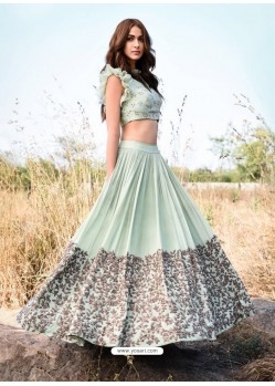 Sea Green Embroidered Silk Designer Lehenga Choli
