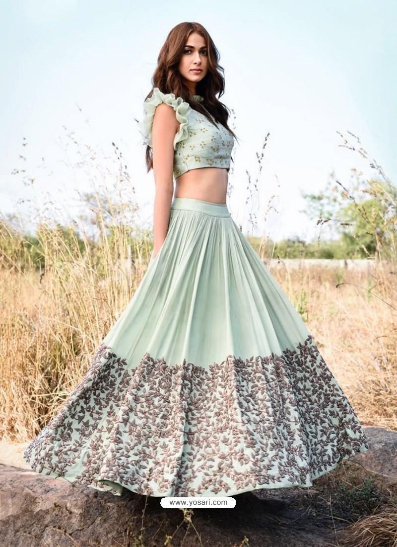 Sea Green Embroidered Silk Designer Lehenga Choli