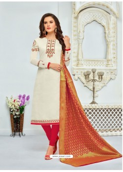 Off White And Red Chanderi Cotton Embroidered Designer Churidar Suit