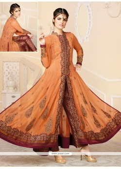 Orange Georgette Designer Anarkali Suit