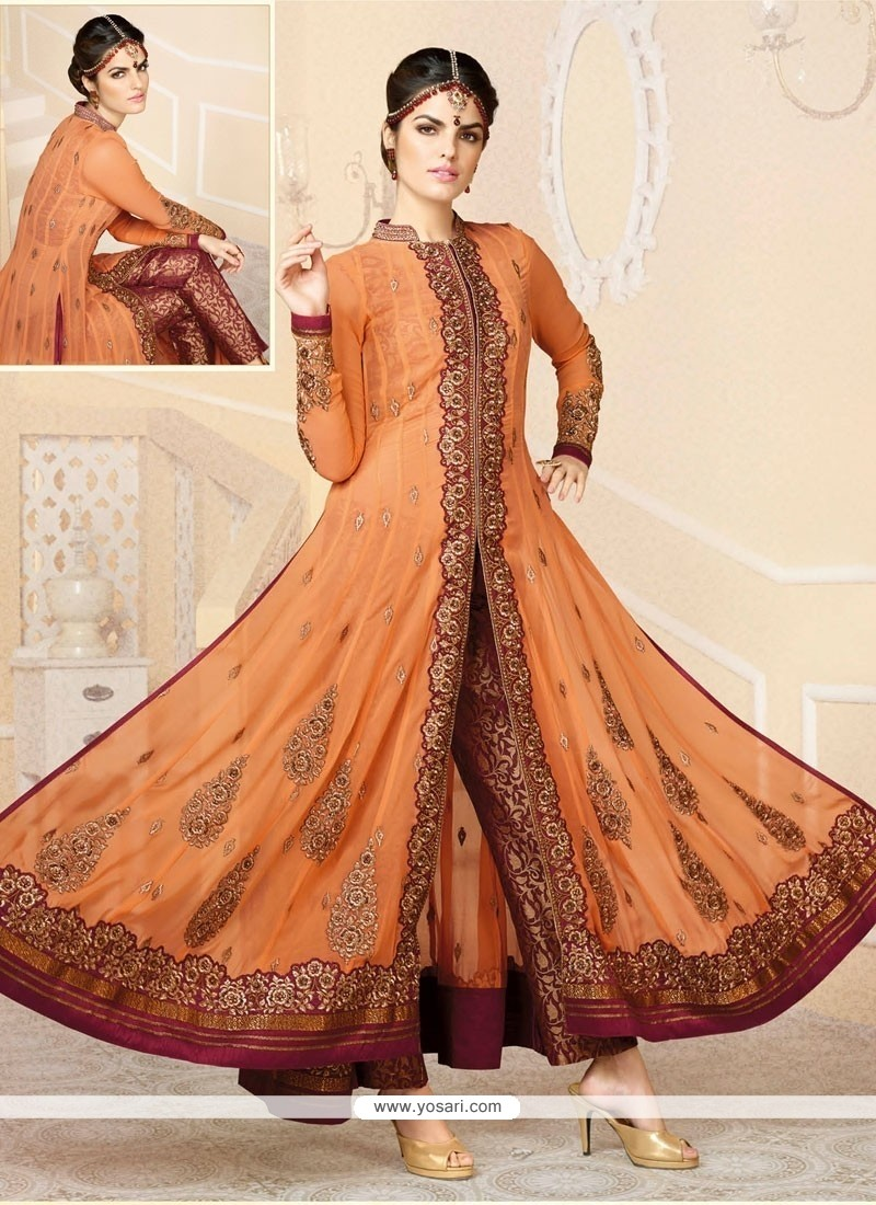 Orange Georgette Designer Anarkali Suit