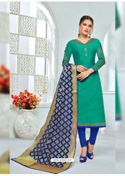 Jade Green And Blue Chanderi Cotton Embroidered Designer Churidar Suit