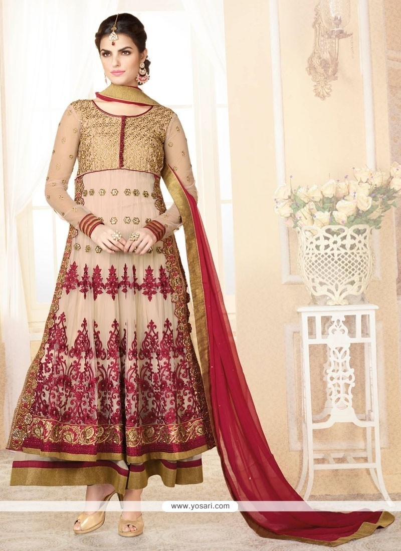 Fabulose Beige Net And Georgette Anarkali Suit