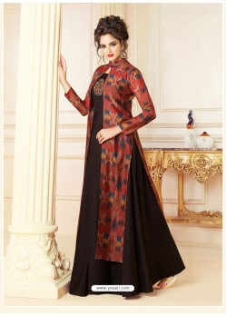Black And Red Cotton Blend Printed Patch Worked Designer Gown