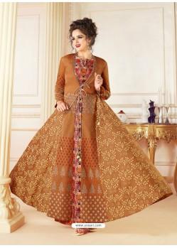 Brown Cotton Blend Printed Thread Worked Designer Gown