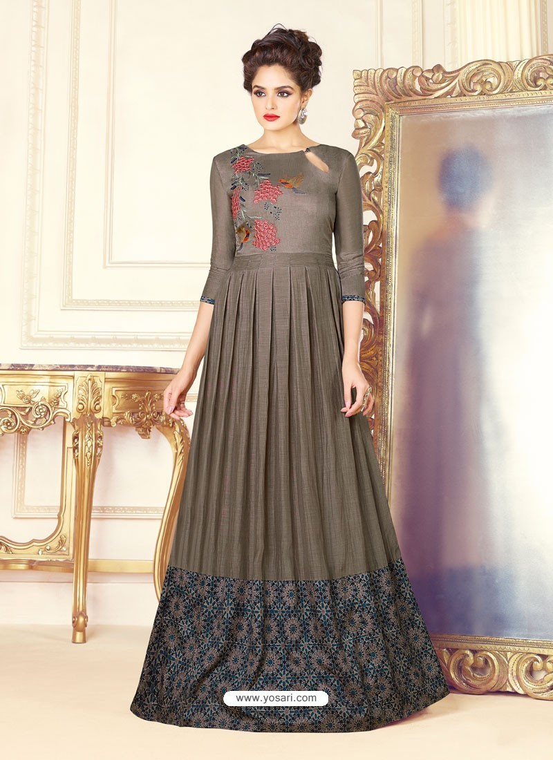 Buy Dull Grey Soft Silk Printed Thread Worked Designer Gown | Gowns