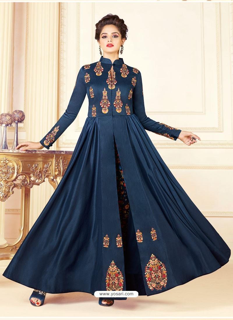 0c7fea96b8 Buy Navy Blue Cotton Blend Printed Thread Worked Designer Gown