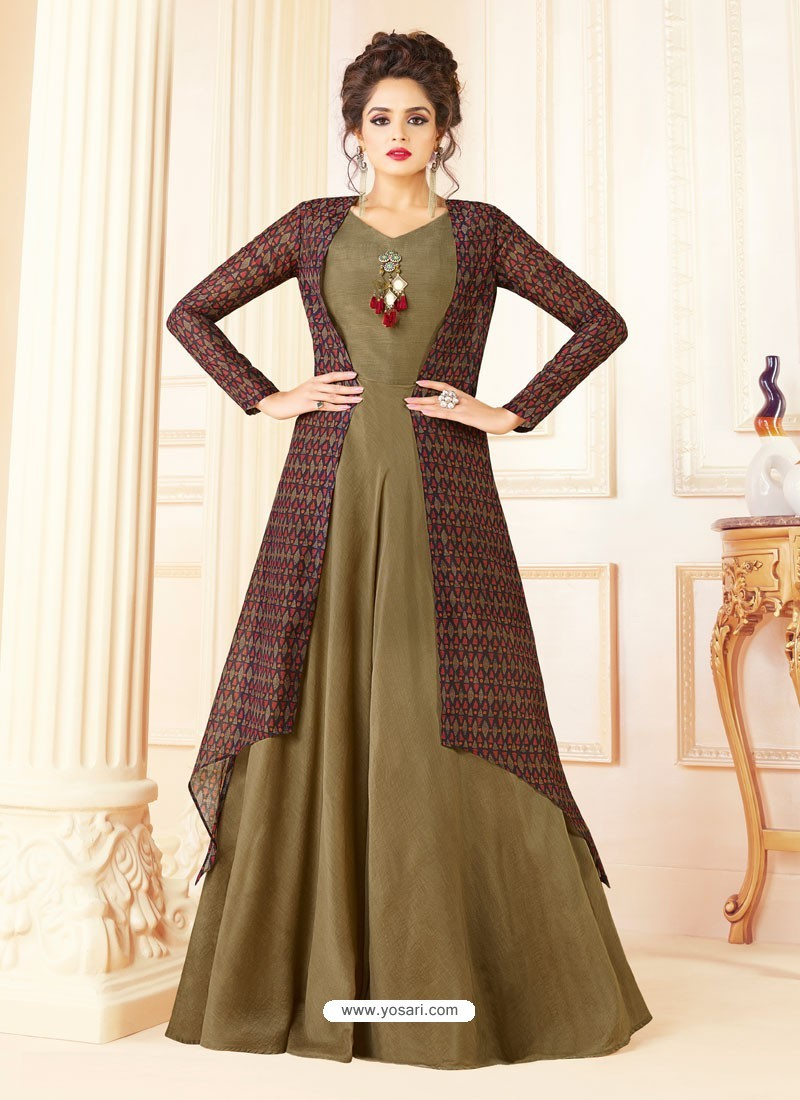 Buy Olive Green And Multi Colour Cotton Blend Printed Designer Gown ...