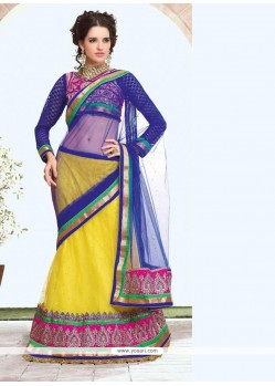 Blue And Yellow Net Viscose Half And Half Lehenga Saree