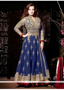 Dia Mirza Blue Net Anarkali Suit
