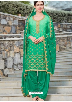 Jade Green Rangoli Embroidered Designer Punjabi Patiala Suit