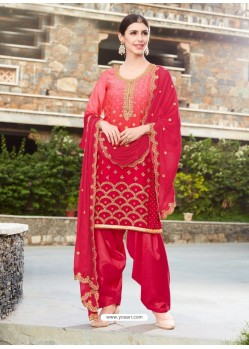 Red Rangoli Embroidered Designer Punjabi Patiala Suit