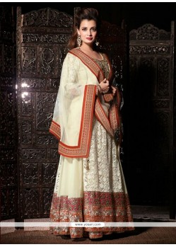 Dia Mirza Off White Net Anarkali Suit