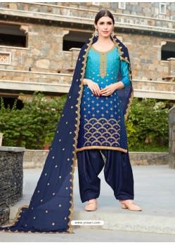 Navy Blue Rangoli Embroidered Designer Punjabi Patiala Suit