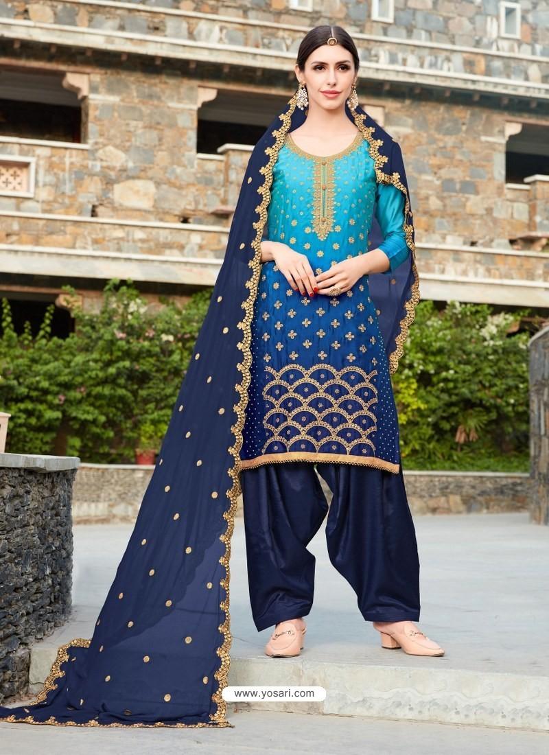 Buy Navy Blue Rangoli Embroidered Designer Punjabi Patiala Suit