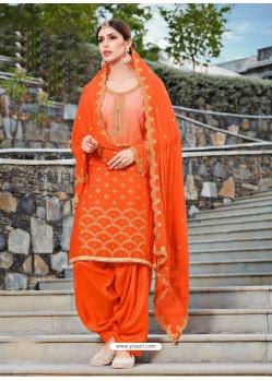 Orange Rangoli Embroidered Designer Punjabi Patiala Suit