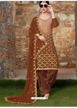 Brown Rangoli Embroidered Designer Punjabi Patiala Suit