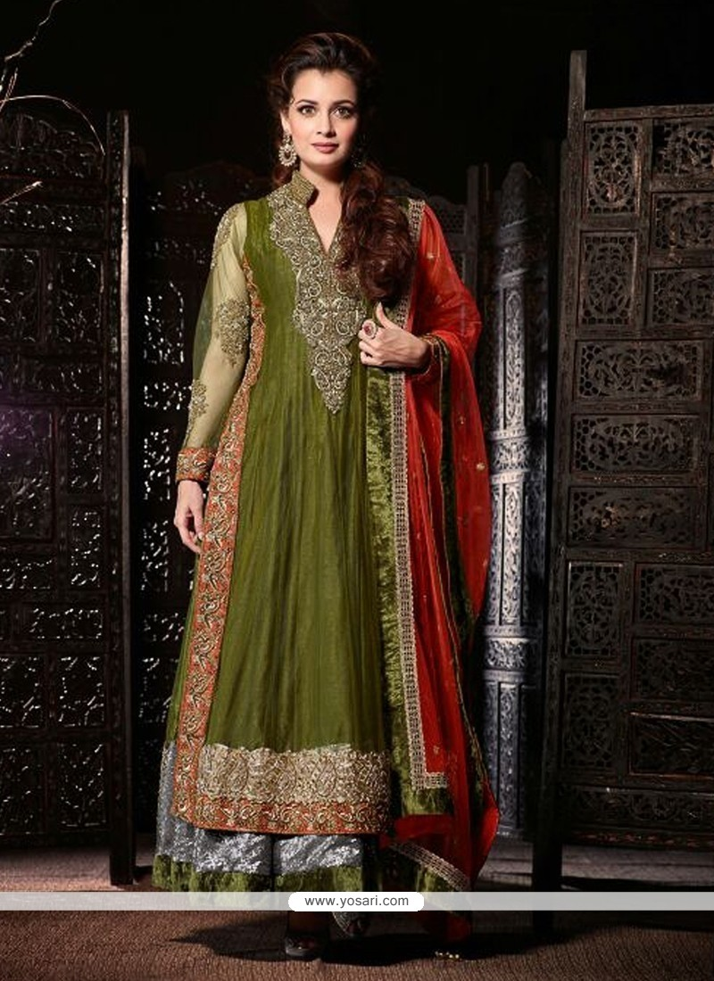 Dia Mirza Green Net Anarkali Salwar Suit