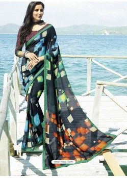 Phenomenal Multi Colour Printed Georgette Designer Saree