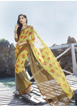 Observable Yellow And Beige Digital Printed Georgette Designer Saree
