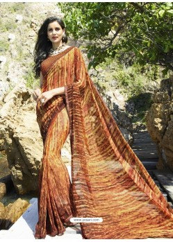 Brown Digital Printed Georgette Designer Saree