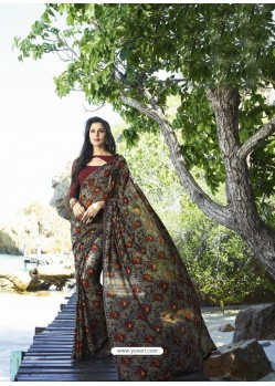 Multi Colour Digital Printed Georgette Designer Saree