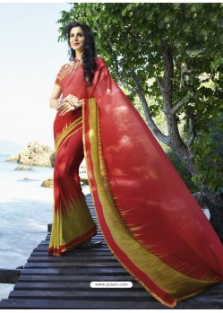 Astonishing Red Digital Printed Georgette Designer Saree