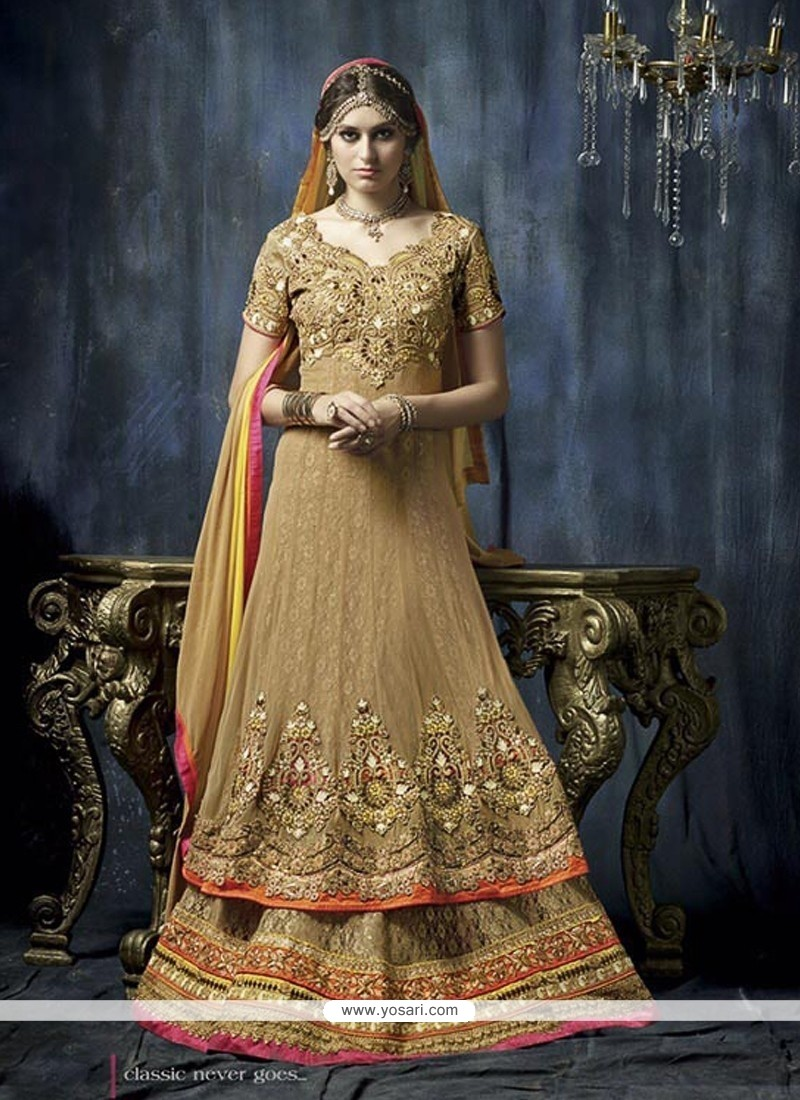 Lovely Beige Net Anarkali Suit