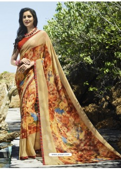 Beige Digital Printed Georgette Designer Saree