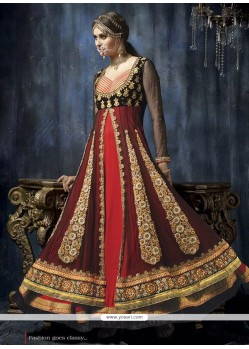 Fab Red And Black Net Anarkali Suit