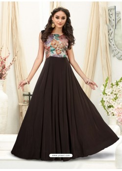 Charming Coffee Brown Embroidered Jacquard Designer Gown