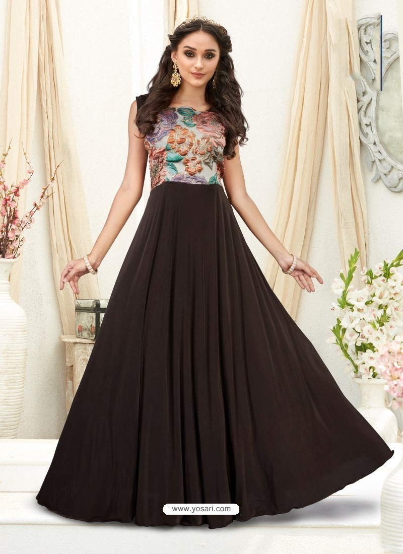 57db6f2245e1 Buy Charming Coffee Brown Embroidered Jacquard Designer Gown