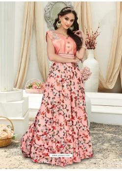 Splendid Peach Embroidered Jacquard Designer Gown