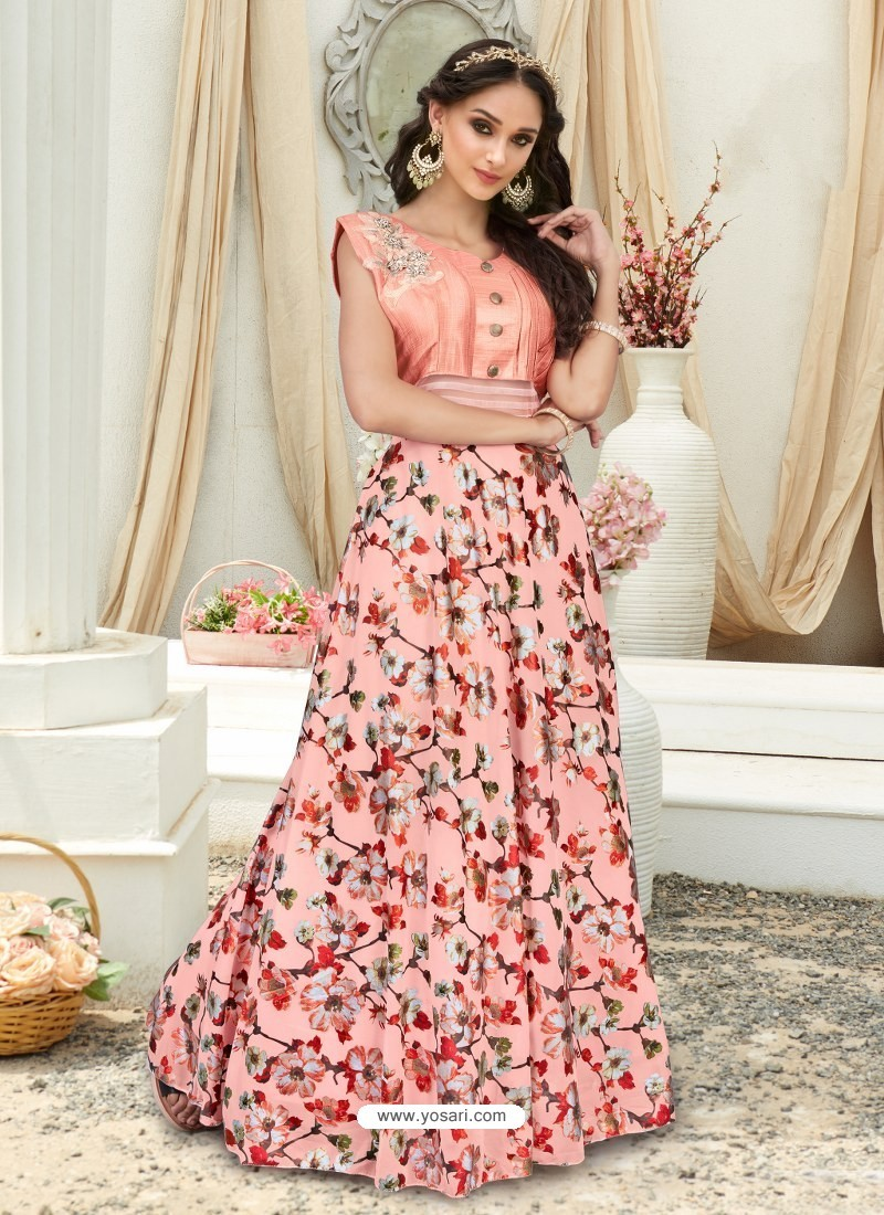 Buy Splendid Peach Embroidered Jacquard Designer Gown | Gowns