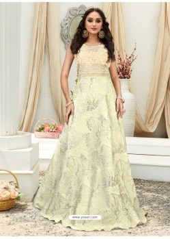 Amazing Off White Embroidered Jacquard Designer Gown