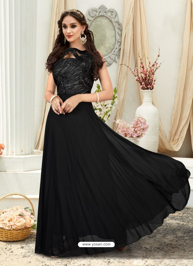 Buy Glorious Black Embroidered Jacquard Designer Gown | Gowns