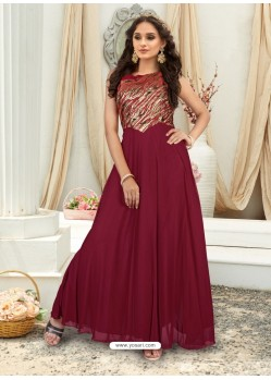 Lovely Maroon Embroidered Jacquard Designer Gown