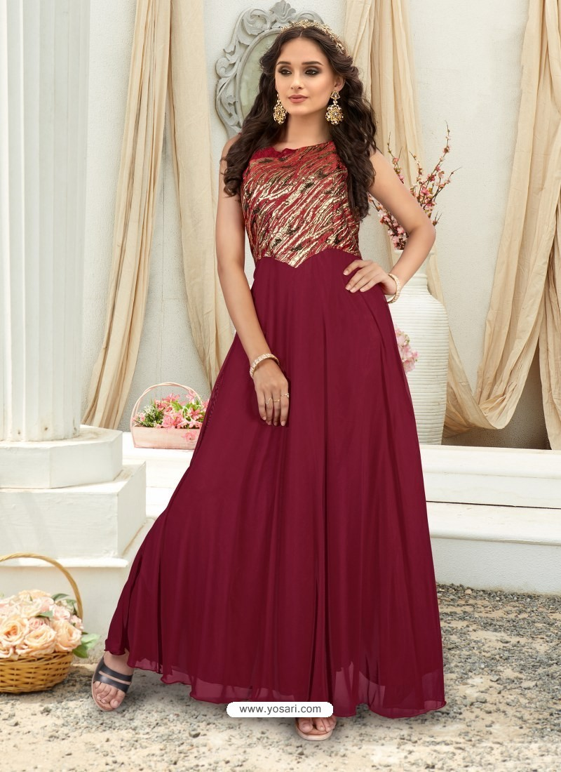 690a8a5691d2 Buy Lovely Maroon Embroidered Jacquard Designer Gown