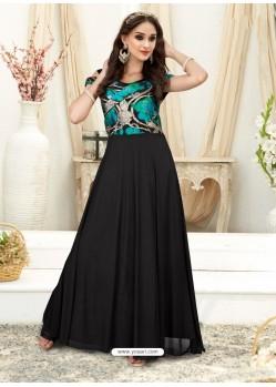 Feminine Black Embroidered Jacquard Designer Gown