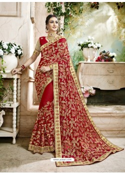 Stunning Red Embroidered Faux Georgette Designer Saree With Lace Border