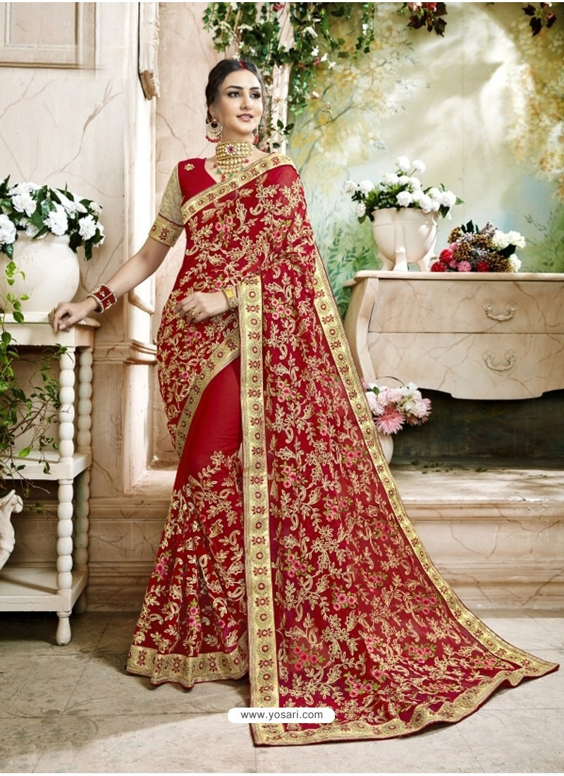 92be09072b Buy Stunning Red Embroidered Faux Georgette Designer Saree With Lace ...