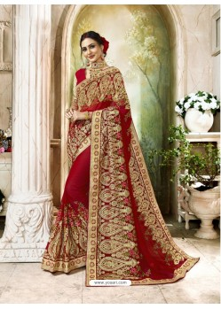 Remarkable Red Heavy Embroidered Faux Georgette Designer Saree